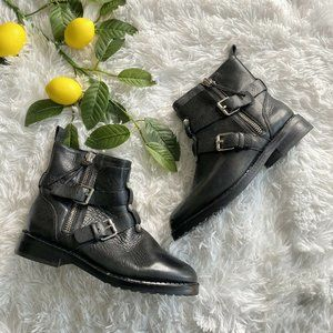 Rebecca Minkoff Griffin Black Leather Moto Booties